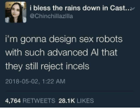"<p>Realistic sex robots via /r/memes <a href=""https://ift.tt/2wqiZxi"">https://ift.tt/2wqiZxi</a></p>: i bless the rains down in Cast.  @Chinchillazilla  i'm gonna design sex robots  with such advanced Al that  they still reject incels  2018-05-02, 1:22 AM  4,764 RETWEETS 28.1K LIKES <p>Realistic sex robots via /r/memes <a href=""https://ift.tt/2wqiZxi"">https://ift.tt/2wqiZxi</a></p>"