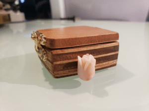 I bought a coral rose for my girlfriend July 2019 I kept it since. Decided to hand make a wooden box to hold the rose and give her both on Valentines. I made the box from the wood of my old bed.: I bought a coral rose for my girlfriend July 2019 I kept it since. Decided to hand make a wooden box to hold the rose and give her both on Valentines. I made the box from the wood of my old bed.