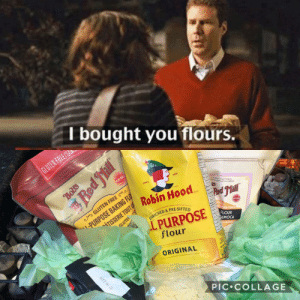 """I'm a baker by trade and I mentioned to my friend/coworker offhand once that I loved the scene from Stranger Than Fiction where Will Farrell's character gives Maggie Gyllenhaal's character a """"basket of flours"""". It was recently my birthday and I received this. These women are angels.: I bought you flours.  REE  1909  SINCE  N Robin Hood  TEN FREE  GFISG  I-PURPOSE  NRICHED & PRE-SIF  S TAPIOCA STARCH  FLOUR  PIOCA  MANIO  flour  ORIGINAL  PIC COLLAGE I'm a baker by trade and I mentioned to my friend/coworker offhand once that I loved the scene from Stranger Than Fiction where Will Farrell's character gives Maggie Gyllenhaal's character a """"basket of flours"""". It was recently my birthday and I received this. These women are angels."""