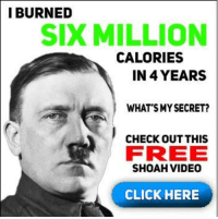 this meme so edgy that if you touch your screen you bleed: I BURNED  SIX MILLION  CALORIES  IN 4 YEARS  WHAT'S MYSECRET?  CHECK OUT THIS  FREE  SHOAH VIDEO  CLICK HERE this meme so edgy that if you touch your screen you bleed