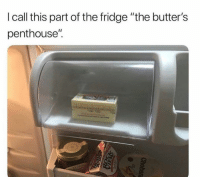 """butters: I call this part of the fridge """"the butter's  penthouse""""."""