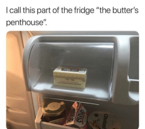 "Funny, Fridge, and Penthouse: I call this part of the fridge ""the butter's  penthouse'"". The butter's penthouse. via /r/funny https://ift.tt/2Oc2hpa"