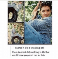 Haha 😂😂 ~Nathouツ: I came in like a wrecking ball  there is absolutely nothing in life that  could have prepared me for this Haha 😂😂 ~Nathouツ