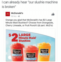 "Roast session tonight 9:30 est we about to make niggas cry tonight ⬇️⬇️⬇️ Follow @icecoldsavage for more: I can already hear ""our slushie machine  is broken""  McDonald's  10 hrs  Orange you glad that McDonald's has $2 Large  Minute Maid slushies!? Choose from Orangeade,  Cherry Limeade, or Fruit Punch! part. McD's)  LARGE  Minute Maid  Slushies  Minute  Minute  Maid  Maid  SUSHI  Minute  Maid  SLUSHIE Roast session tonight 9:30 est we about to make niggas cry tonight ⬇️⬇️⬇️ Follow @icecoldsavage for more"