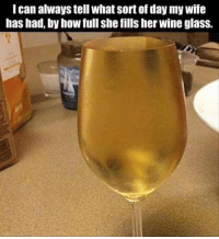 Memes, Wine, and Wife: I can always tell what sort of day my wife  has had, by how full she fills her wine glass.