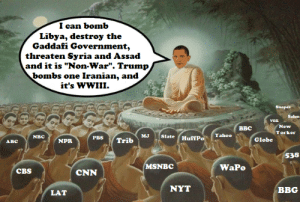 """How News Stories Are Born: I can bomb  Libya, destroy the  Gaddafi Government,  threaten Syria and Assad  and it is """"Non-War"""". Trump  bombs one Iranian, and  it's WWIII.  Snopes  Salon  vox  ввс  New  Yorker  Slate (HuffPo  PBS  Yahoo  мJ  NBC  NPR  Trib  Globe  АвС  538  MSNBC  WaPo  CBS  CNN  NYT  вBG  LAT How News Stories Are Born"""