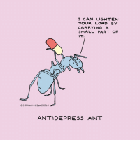 Dogs, Okay, and Hope: I CAN LIGHTEN  YOUR LOAD BY  CARRYING A  SMALL PART OF  IT  @DRAWINGSoF DOGS  ANTIDEPRESS ANT Hope y'all are doing okay :)