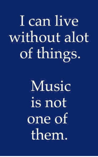 Alot Of: I can live  without alot  of things.  Music  is not  one of  them