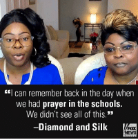 """America, Friends, and Life: """"I can remember back in the day when  we had prayer in the schools.  We didn't see all of this.""""  -Diamond and Silk  FOX  NEWS On """"Fox & Friends,"""" @diamondandsilk called for America to """"get back to having compassion, empathy, and regards for human life."""""""