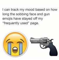 "I can track my mood based on how  long the sobbing face and gun  emojis have stayed off my  ""frequently used"" page. My frequently used emoji page is just bombs and shrimp and a camel. Tag a friend who only communicates via emoji or tag a friend who only uses sobbing face and gun emojis! 💣🍤🐫"