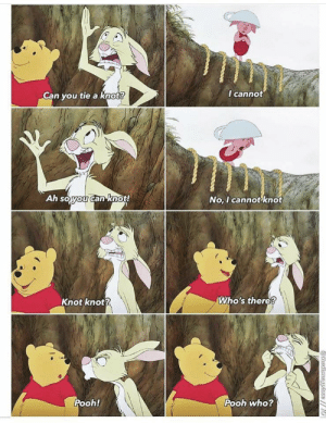 I can knot knot!: I cannot  Can you tie a knot?  Ah soyou canknot!  No, I cannot knot  @thediencyplacNG  Who's there?  Knot knot?  Pooh!  Pooh who?  athedisneyplace// I can knot knot!