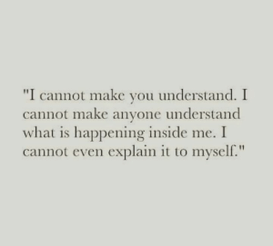 """What Is, Make, and Inside: """"I cannot make vou understand. I  cannot make anyone understand  what is happening inside me. I  cannot even explain it to myself."""""""