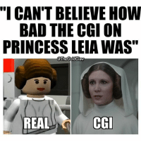 """I prefer the REAL Princess Leia. ( StarWars RogueOne ANewHope PrincessLeia CarrieFisher Leia Lego LegoStarWars) For the record, I think the CGI work is a visual masterpiece. This is obviously a joke.: """"I CAN'T BELIEVE HOW  BAD THE CGI ON  PRINCESS LEIAWAS""""  @The GoldClaw  REAL  CGI I prefer the REAL Princess Leia. ( StarWars RogueOne ANewHope PrincessLeia CarrieFisher Leia Lego LegoStarWars) For the record, I think the CGI work is a visual masterpiece. This is obviously a joke."""