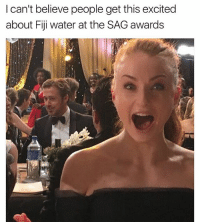 Head, Thank You, and Fiji: I can't believe people get this excited  about Fiji water at the SAG awards And the back of what looks to be Seth McFarlane's head Pic: @sophiet (Thank you 😊)