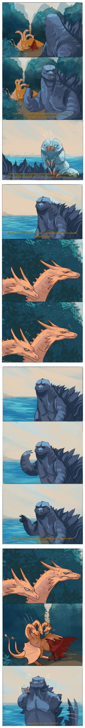 skogurumi:  .。*゚+.*.。Kaiju's dating on Monster Island .。*゚+.*.。 Made this little comic from the last drawing _( :3」∠)_: -I can't believe Rodan is dating King Ghidorah that guy is evil  I'm a little worried about Rodan!  -I think they look cute together. I know you're worried for our friend, but  you should give King Ghidorah a chance, maybe he's not bad as you think!   -Maybe...l'm ok with Kevin..d'mjust worried about the other two heads,  they're just bad!  EoUSUmm   telepathic conversation  Don't you dare hurt my buddy or I'll kick your shiny butt again!  UNDERSTOOD!   -Good job Gojira! You're the best! skogurumi:  .。*゚+.*.。Kaiju's dating on Monster Island .。*゚+.*.。 Made this little comic from the last drawing _( :3」∠)_
