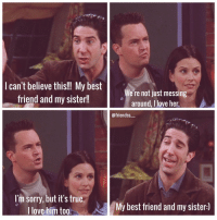 """aww omg i love Monica and Chandler and it was so funny when Ross found out ahahahaha. """"GET OFF MY SISTER!!!!"""" lol hope you had a great day❤ friends friendstvshow mondler chandlerandmonica ilovefriends chandlerbing monicageller joeytribianni phoebebuffay rossgeller rachelgreen: I can't believe this!!! My best  We're not just messing  friend and my sister!  around, love her  @friendss  I'm sorry, but it's true  A My best friend and my sister:)  I love him too aww omg i love Monica and Chandler and it was so funny when Ross found out ahahahaha. """"GET OFF MY SISTER!!!!"""" lol hope you had a great day❤ friends friendstvshow mondler chandlerandmonica ilovefriends chandlerbing monicageller joeytribianni phoebebuffay rossgeller rachelgreen"""