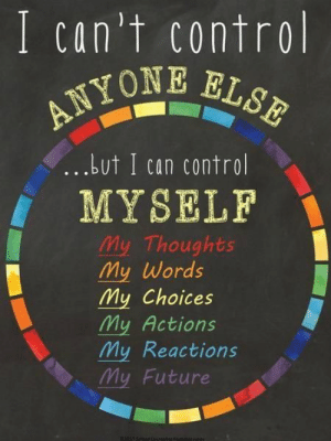 Future, Control, and Can: I can't control  ANYOt  Lut I can control  fMYSELF  My Thoughts  My words  My Choices  My Actions  My Reactions  My Future