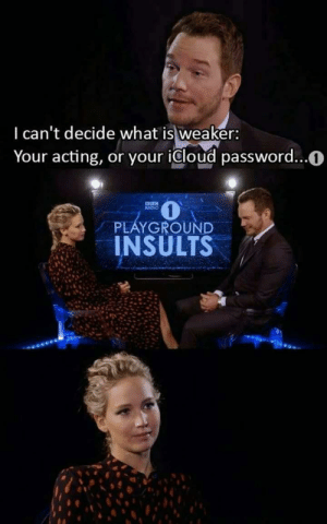 Chris Pratt, Memes, and Radio: I can't decide what is weaker:  Your acting, or your icloud password...0  RADIO  PLAYGROUND  INSULTS Chris Pratt is a national treasure. via /r/memes https://ift.tt/2zCGOAp