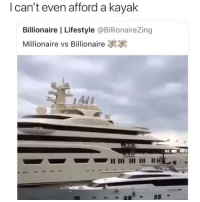 Memes, Kayak, and Lifestyle: I can't even afford a kayak  Billionaire I Lifestyle @BillionaireZing  Millionaire vs Billionaire Carry it on 😂 I can't even afford to breathe