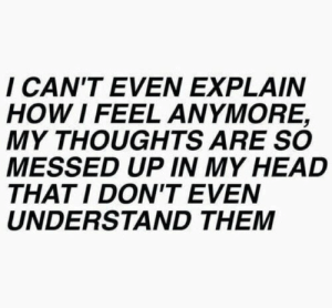 cant even: I CAN'T EVEN EXPLAIN  HOW I FEEL ANMORE,  MY THOUGHTS ARE SO  MESSED UP IN MY HEAD  THATI DON'T EVEN  UNDERSTAND THEM