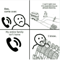"""Bae, Come Over, and Family: I can't right now  I'm experiencing an  ethical dilemma.  Bae,  come over.  My entire family  isn't home  I know. <p>If i can keep this template edgy will it have value? via /r/MemeEconomy <a href=""""http://ift.tt/2teoLv6"""">http://ift.tt/2teoLv6</a></p>"""