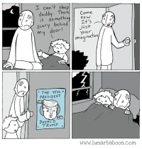Sleep, Com, and President: I can't sleep  daddy... TheCome  ethinnowW..  ere  is som  scary behindIt's  just  door  Your  imaqination  THE 45th。  PRESIDENT  0  DONAL D  www.lunarbaboon.com <h2>Próximamente en Historias para no dormir&hellip;</h2>