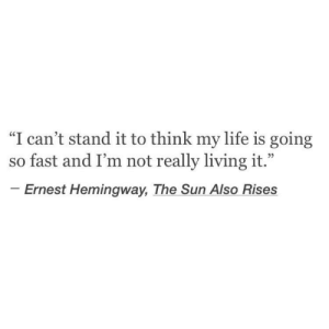 "hemingway: ""I can't stand it to think my life is going  so fast and I'm not really living it.""  Ernest Hemingway, The Sun Also Rises"