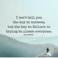 Success: I can't tell you  the key to success,  but the key to failure is  trying to please everyone.  -ED SHEERAN  ePeacefuIMindPeacefulLife