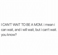 Mean, Mom, and Can: I CAN'T WAIT TO BE A MOM. i mean i  can wait, and i will wait, but i can't wait  you know?