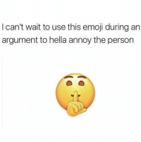 Emoji, One, and Hella: I can't wait to use this emoji during an  argument to hella annoy the person Y'all ready for this one? 😂🤷♂️ https://t.co/tRj1pgM08e