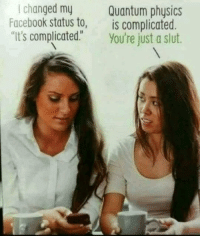 "Facebook, Physics, and Quantum Physics: I changed my  Facebook status to,  Quantum physics  is complicated.  ""It's complicated."" You're just a slut."