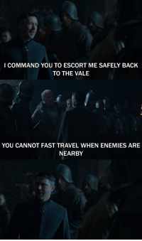 As a huge gamer, this was always my favorite: I COMMAND YOU TO ESCORT ME SAFELY BACK  TO THE VALE  YOU CANNOT FAST TRAVEL WHEN ENEMIES ARE  NEARBY As a huge gamer, this was always my favorite