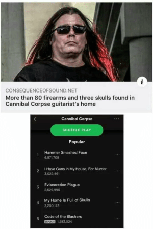 What was your first clue?: i  CONSEQUENCEOFSOUND.NET  More than 80 firearms and three skulls found in  Cannibal Corpse guitarist's home  Cannibal Corpse  SHUFFLE PLAY  Popular  Hammer Smashed Face  6,871.705  I Have Guns in My House, For Murder  2  3,022.461  Evisceration Plague  3  2,529,990  My Home Is Full of Skulls  4  2,200,123  Code of the Slashers  5  EXPLICIT  1,283,024 What was your first clue?