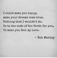 Bob Marley, Love, and True: I could make you happy,  make your dreams come true.  Nothing that I wouldn't do.  Go to the ends of the Earth for you,  To make you feel my love.  -Bob Marley