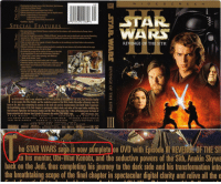 "The sequels are non-canon confirmed: I D ES CREE NN  Commentary by George Lucas, Rick McCallum, Rob Coleman,  z John Knoll and Roger Guyet  Anamorphic Widescreen (Aspect Rutio 2.35:1)  Movie captured and created directly from the digital source  Sound: English Dolby 5.1 Surround EX  English Dolby Surround 2.0  French and Spanish Dolby Surround 2.0  o Subtitles: English  024543 21266  SPECIAL FEATURES  Six never-before-seen Deloted Scenes created just for this rolease, with introductions by Gebrgo Lucas  and Rick McCallu  I-now foll-Hength documentary Within A Minute gives you the most in-depth look over into the filmmaking  process for a Star Wars movie by oxamining overything and everyone that went into making less than  sixty seconds of Episode III  eTake an inside look at tho tragedy of Anakin Skywalker as he tranślorms into Darth Vader in the exclusive  featuretto The Chosen One  WARS  REVENGE OF THE SITH  口  . Witness firsthand thouxtreme training involved in creating tho most inte so Jedi action battles of tho saga  in the exclusive foaturette ""It's All For Real""  Go behind the scenes of the making of Revenge of tho Sith  in an unparalleled 15-part web-documentary collection  ""A Hero Falls"" music video footuring John Williams  ""Battle of the Heroos"" track  Theatricol teaser and launch trailer and 15 TV spots  Theatrical posters and print campaign from around tho world  Nover-before-seen Production Photo Gallery with special  caption feature  Accoss a special Xbox playablo demo with two ontire lovels  from tho new Star Wars Bottlefront II video game and watch  video game trailers for Star Wars Battlefront Il and  Star Wors Empire At War  DVD-ROM wablink to exclusive Star Wars content  he STAR WARS sagais now omplete on DVD wilth Ep  REVENC OF THE SITH. om between foyalty  Tr  to his mentor, Obi-Wan Kenobi, and the seductive powers of the Sith, Anakin Skywalker ultimately tuns his  back on the Jedi, thus completing his jouney to the dark side and his transformation into Darth Vader. Experience  the breathtaking scope of the final chapter in spectacular digital clarity and relive all the epic battles including the  final climactic lightsaber duel between Anakin and Obi-Wan. Bring home this 2-disc set featuring over six hours of  bonus materials and discover how Episode lI connects the entire STAR WARS saga. 2005,140 minutes, Color  STARWARS  EPISO D E II  REV ENGEOF THE SITH  sering E WAN MCGREGOR NATALIE PORTMAN HAYDEN CHRISTENSEN  CHRISTOPHERLEE  IAN McDIARMID  WILLIAMS roduced R ICK Mc  llis  LE L  鼏deo n  GEORG E Lud AS EXEE@ E ㄧ ay@)鼎,  he STAR WARS saga is now pumplete on DVD with Episode I REVENUE OF THE SI  o his mentor, Ubi-Wan Kenobi, and the seductive powers of the Sth, Anakin Skywa  back on the Jedi, thus completing his journey to the dark side and his transformation into  the breathtaking scope of the final chapter in spectacular digital clarity and relive all the e The sequels are non-canon confirmed"