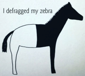 Zebra, Faster, and Now: I defragged my zebra It's faster now.