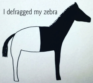 Hope, Ssd, and Zebra: I defragged my zebra Let hope this isn't an SSD Zebra!