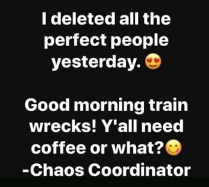 Yall Need: I deleted all the  perfect people  yesterday.  Good morning train  wrecks! Y'all need  coffee or what?  -Chaos Coordinator