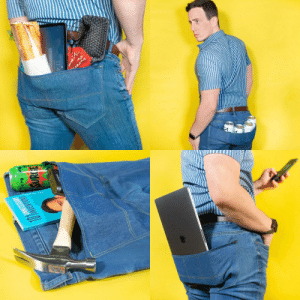 I design ridiculous product ideas for fun, so I designed a pair of jeans with one giant pocket across the butt for all your essentials.: I design ridiculous product ideas for fun, so I designed a pair of jeans with one giant pocket across the butt for all your essentials.