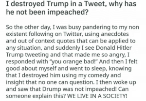 """Another superstar meme owning the libs: I destroyed Trump in a Tweet, why has  he not been impeached?  So the other day, I was busy pandering to my non  existent following on Twitter, using anecdotes  and out of context quotes that can be applied to  any situation, and suddenly I see Donald Hitler  Trump tweeting and that made me so angry, I  responded with """"you orange bad!"""" And then I felt  good about myself and went to sleep, knowing  that I destroyed him using my comedy and  insight that no one can question. I then woke up  and saw that Drump was not impeached! Can  someone explain this? WE LIVE IN A SOCIETY! Another superstar meme owning the libs"""