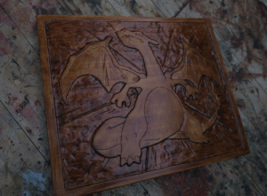 I did a wood carving of a Charizard: I did a wood carving of a Charizard