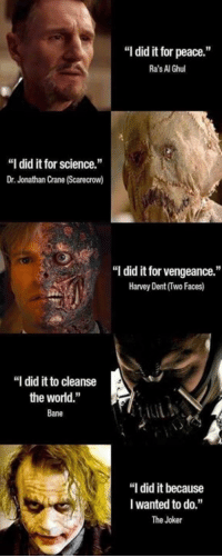 "Bane, Harvey Dent, and Joker: ""I did it for peace.""  Ra's Al Ghul  ""I did it for science.  Dr. Jonathan Crane (Scarecrow)  ""I did it for vengeance.  Harvey Dent (Two Faces)  ""I did it to cleanse  the world.""  Bane  ""I did it because  I wanted to do.""  The Joker A lot to say about this meme Team ras all the way -Joker #GOTHAMCITYMEMES"