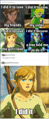 i did it: I did it to save I did it to save  my friends  my sister  it to Save  did it because  a tree told me  the girl I love  to do it  The Legend of Zelda  did it