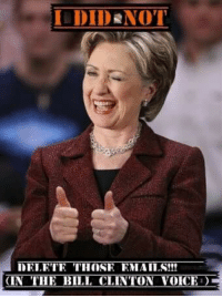 I DID NOT  TELETE THOSE EMAILS!!!  (IN THE BILL CLINTON VOICE First meme. Hillary Clinton at her finest!