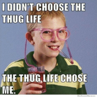 I DID  T CHOOSE THE  THUG LIFE  THE THUG LIFE CHOSE  ME  We Know Me mess Fite him irl ~JABYOLO