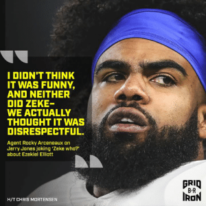 UH OH. B/R Gridiron: I DIDN'T THINK  IT WAS FUNNY,  AND NEITHER  DID ZEKE-  WE ACTUALLY  THOUGHT IT WAS  DISRESPECTFUL  Agent Rocky Arceneaux on  Jerry Jones joking 'Zeke who?  about Ezekiel Elliott  FRID  B R  RON  H/T CHRIS MORTENSEN UH OH. B/R Gridiron