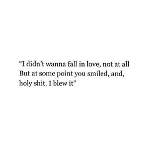 "https://iglovequotes.net/: ""I didn't wanna fall in love, not at all  But at some point you smiled, and  holy shit, I blew it"" https://iglovequotes.net/"