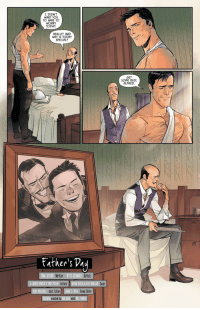 Bruce Wayne and Alfred: I DIDN'T  WANT YOU  TO HAVE TO  WORRY  TODAY  REALLY? AND  WHY IS TODAY  SPECIAL?  GET  SOME REST  ALFRED.  Eatker's Pay  OM TAYLOR Writer  TTO SCHMIDT Artist  A LARGER WORLO'S TROY PETERI  Letters  BRYAN HITCH &ALEX SINCLAIR  Cover  DAVE WIELGOS! Asst. Editor JAMIE S. RICH Group Editor  BATMAN created by B0B KANE with  BILL FINGER Bruce Wayne and Alfred