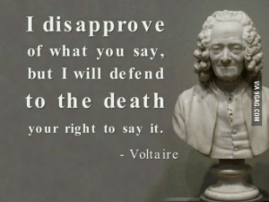 Say It, Death, and Trump: I disapprove  of what you say,  but I will de fend  to the death  your right to say it.  - Volta ir Seems like modern liberalists dont get the idea of liberalism (anti trump riots)