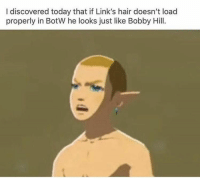 Bobby Hill, Hair, and Today: I discovered today that if Link's hair doesn't load  properly in BotW he looks just like Bobby Hill. That's my purse! I don't know you! https://t.co/KXXnaD8J2P